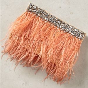 Anthropologie Feathered Fete Clutch Purse